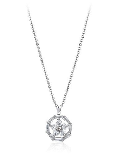 Tophills Diamond Co. 1,30 Ct Pırlanta Efekt Altın Daisy Trapes Kolye Renkli